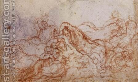 Study for Deluge (portion of sheet) c. 1546 by (Jacopo Carucci) Pontormo - Reproduction Oil Painting