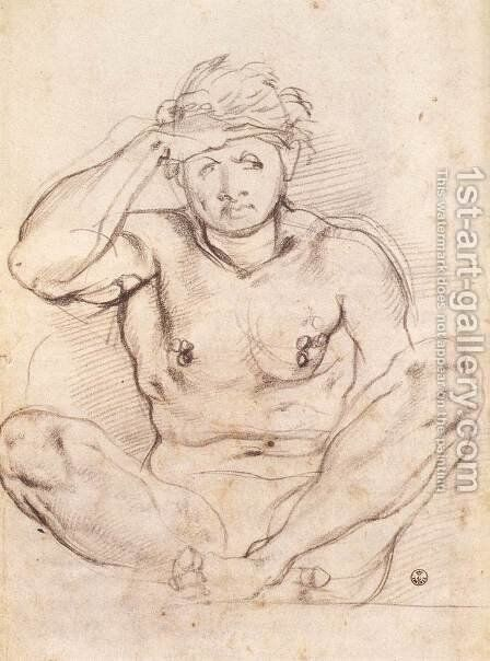 Study for Vertumnus and Pomona 1519 by (Jacopo Carucci) Pontormo - Reproduction Oil Painting
