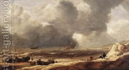 Shipwreck on a Beach 1631 by Jan Porcellis - Reproduction Oil Painting