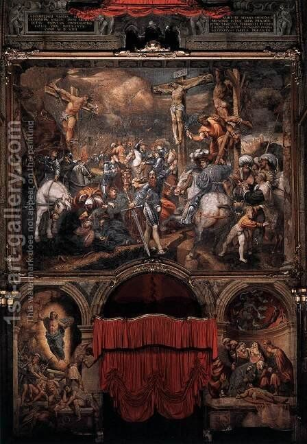 Golgotha 1520-21 by (Giovanni Antonio de' Sacchis) Pordenone - Reproduction Oil Painting