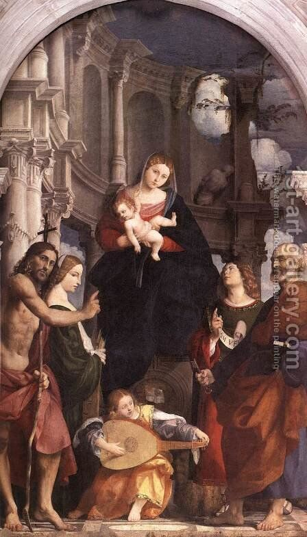 Madonna and Child Enthroned with Saints c. 1525 by (Giovanni Antonio de' Sacchis) Pordenone - Reproduction Oil Painting