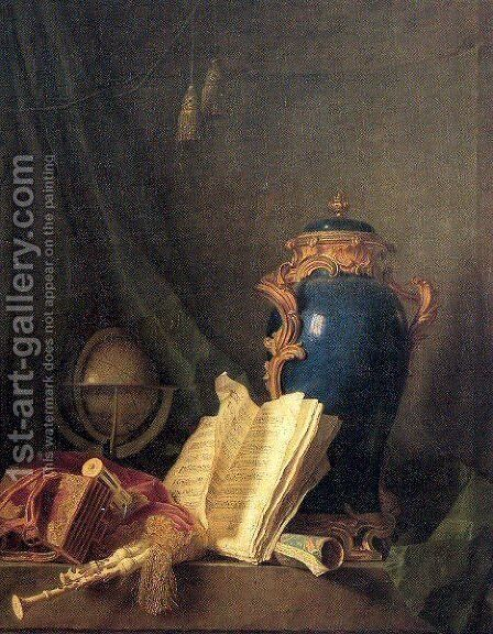 Still Life with a Vase of Lapis, a Globe, and Bagpipes by Henri-Horace Roland de la Porte - Reproduction Oil Painting