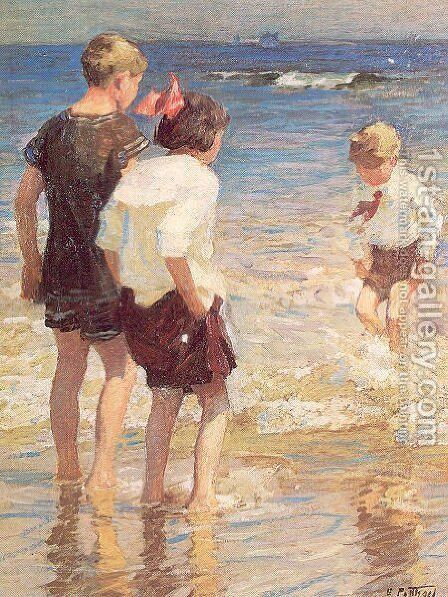Children at Shore No. 3 by Edward Henry Potthast - Reproduction Oil Painting