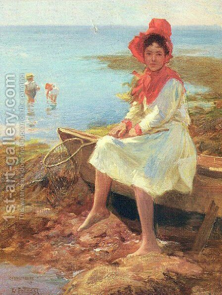 The Red Bonnet by Edward Henry Potthast - Reproduction Oil Painting