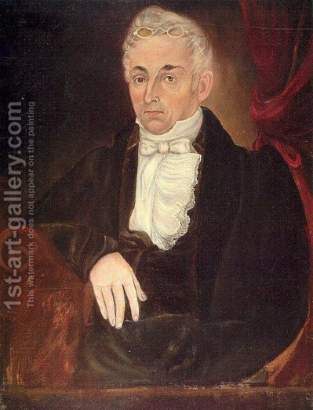 Portrait of Jacob Farrar 1834-35 by Asahel Lynde Powers - Reproduction Oil Painting