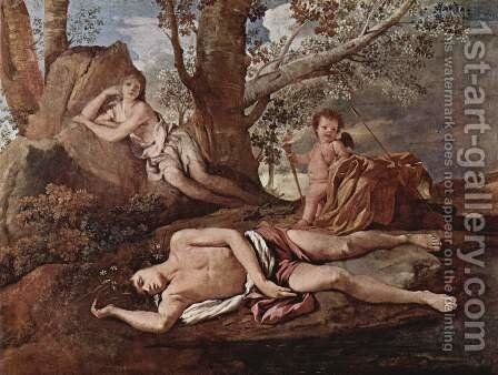 Echo and Narcissus 1628-30 by Nicolas Poussin - Reproduction Oil Painting