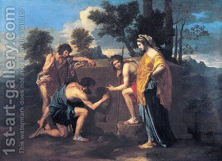 """Et in Arcadia Ego"" 1637-39 by Nicolas Poussin - Reproduction Oil Painting"