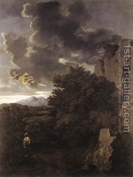 Hagar and the Angel c. 1660 by Nicolas Poussin - Reproduction Oil Painting