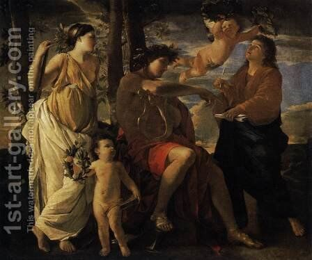 The Inspiration of the Poet c. 1630 by Nicolas Poussin - Reproduction Oil Painting