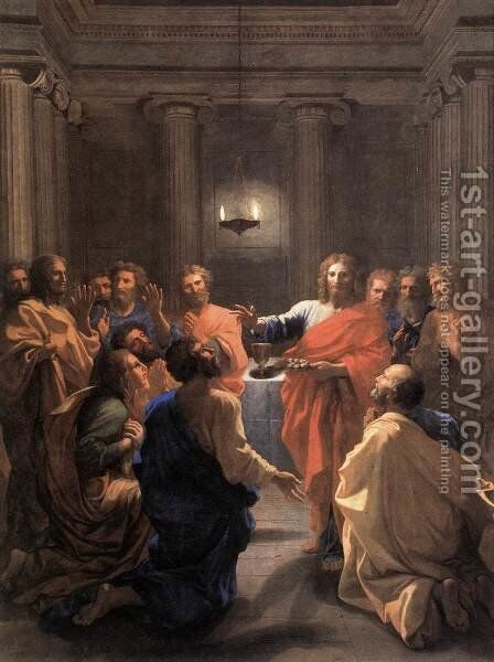 The Institution of the Eucharist 1640 by Nicolas Poussin - Reproduction Oil Painting