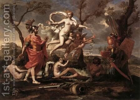 Venus Presenting Arms to Aeneas 1639 by Nicolas Poussin - Reproduction Oil Painting