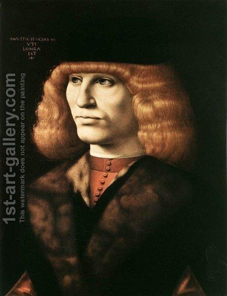Portrait of a Young Man c. 1500 by Ambrogio de Predis - Reproduction Oil Painting