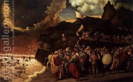 Submersion of Pharaoh's Army in the Red Sea 1515-20 by Andrea Previtali - Reproduction Oil Painting