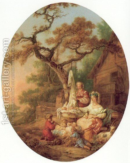 A Scene from Russian Life 1764 by Jean-Baptiste Le Prince - Reproduction Oil Painting