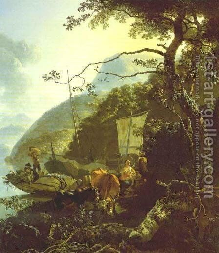 Boatmen Moored on the Shore of an Italian Lake 1668 by Adam Pynacker - Reproduction Oil Painting