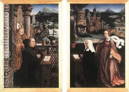 Donor with St Nicholas and his Wife with St Godelina by Jan Provost - Reproduction Oil Painting