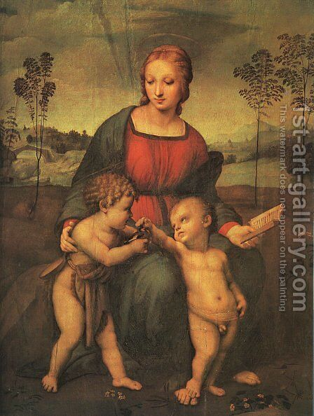 Madonna of the Goldfinch (Madonna del Cardellino) 1505-06 by Raphael - Reproduction Oil Painting