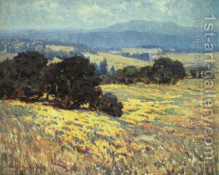 California Oaks and Poppies by Granville Redmond - Reproduction Oil Painting