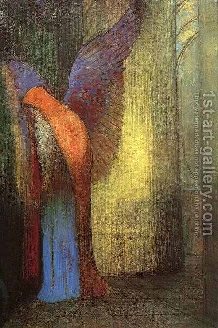 Winged Old Man with a Long White Beard by Odilon Redon - Reproduction Oil Painting
