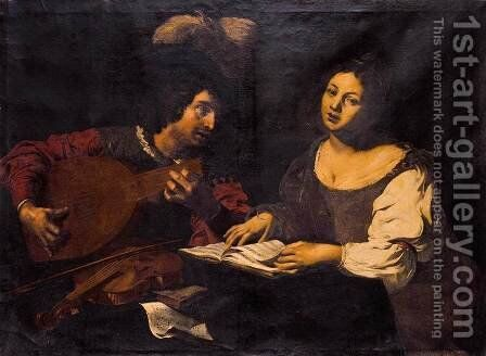 A Musician Playing a Lute to a Singing Girl  1621-22 by Niccolo Renieri  (see Regnier, Nicolas) - Reproduction Oil Painting
