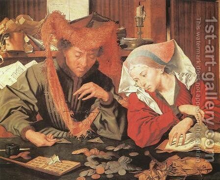 Money-Changer and his Wife 1539 by Marinus van Reymerswaele - Reproduction Oil Painting