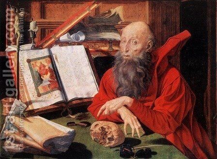St Jerome (2) 1541 by Marinus van Reymerswaele - Reproduction Oil Painting