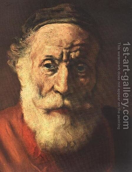 Portrait of an Old Man in Red (detail -1) 1652-54 by Rembrandt - Reproduction Oil Painting