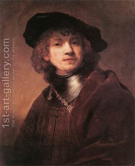 Self Portrait as a Young Man 1634 by Rembrandt - Reproduction Oil Painting