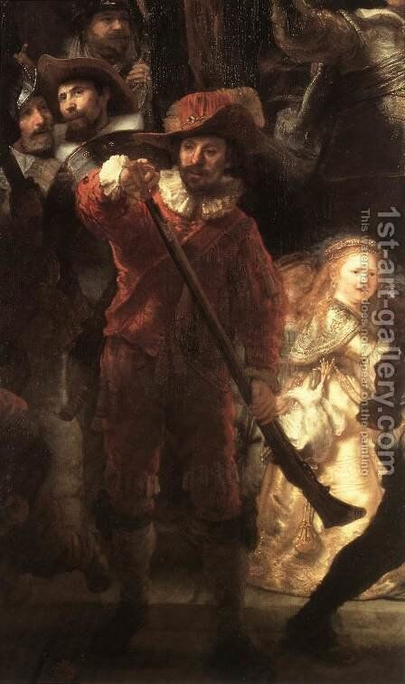 The Nightwatch (detail-2) 1642 by Rembrandt - Reproduction Oil Painting