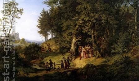 Bridal Procession in a Spring Landscape 1847 by Adrian Ludwig Richter - Reproduction Oil Painting