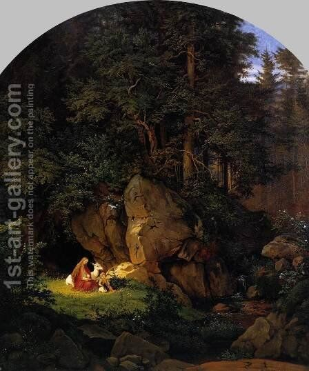 Genoveva in the Forest Seclusion 1841 by Adrian Ludwig Richter - Reproduction Oil Painting