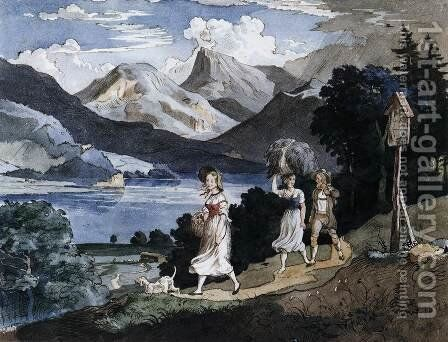 The Fuschlsee with the Schafberg Mountain in the Salzkammergut 1823 by Adrian Ludwig Richter - Reproduction Oil Painting