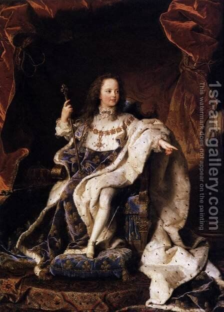 State Portrait of Louis XV 1715 by Hyacinthe Rigaud - Reproduction Oil Painting