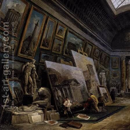 Imaginary View of the Grande Galerie in the Louvre (detail) 1789 by Hubert Robert - Reproduction Oil Painting