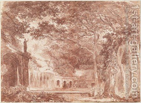 The Artist Drawing in the Farnese Gardens by Hubert Robert - Reproduction Oil Painting