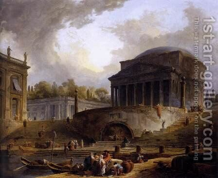 View of Ripetta 1766 by Hubert Robert - Reproduction Oil Painting