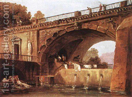 Washerwomen below a Bridge by Hubert Robert - Reproduction Oil Painting
