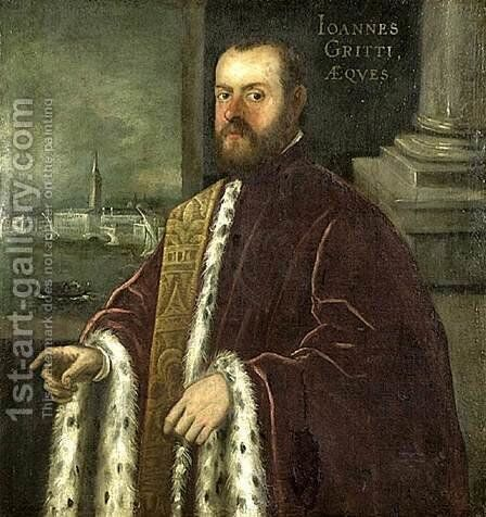 Portrait of Joannes Gritti by Domenico Tintoretto (Robusti) - Reproduction Oil Painting