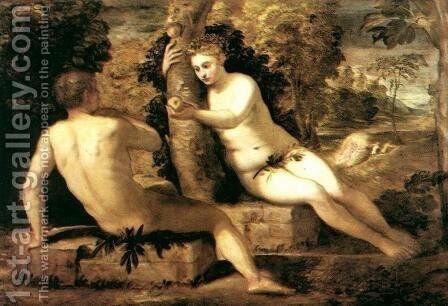 Adam and Eve c. 1550 by Jacopo Tintoretto (Robusti) - Reproduction Oil Painting