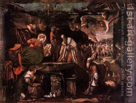 Adoration of the Magi c. 1582 by Jacopo Tintoretto (Robusti) - Reproduction Oil Painting