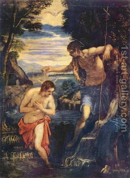 Baptism of Christ by Jacopo Tintoretto (Robusti) - Reproduction Oil Painting