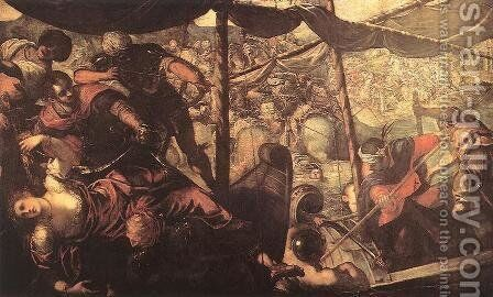Battle between Turks and Christians 1588-89 by Jacopo Tintoretto (Robusti) - Reproduction Oil Painting