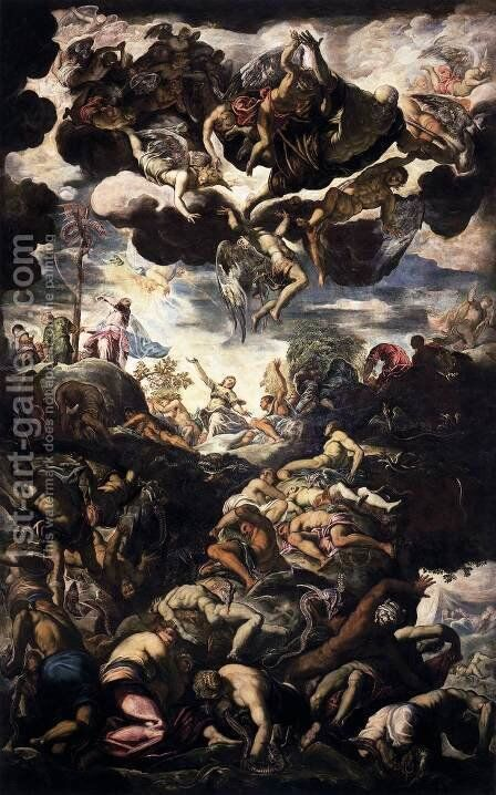 Brazen Serpent 1575-76 by Jacopo Tintoretto (Robusti) - Reproduction Oil Painting