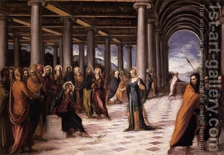 Christ and the Woman Taken in Adultery 1546-48 by Jacopo Tintoretto (Robusti) - Reproduction Oil Painting