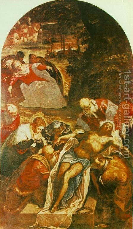 Entombment 1592-94 by Jacopo Tintoretto (Robusti) - Reproduction Oil Painting