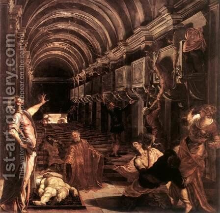 The Discovery of St Mark's Body 1562-66 by Jacopo Tintoretto (Robusti) - Reproduction Oil Painting