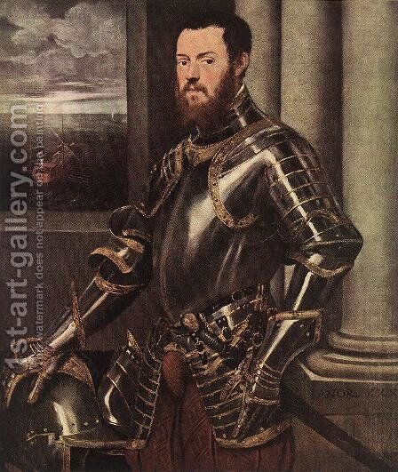 Man in Armour c. 1550 by Jacopo Tintoretto (Robusti) - Reproduction Oil Painting