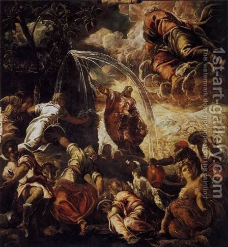 Moses Drawing Water from the Rock 1577 by Jacopo Tintoretto (Robusti) - Reproduction Oil Painting