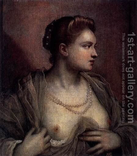 Portrait of a Woman Revealing her Breasts c. 1570 by Jacopo Tintoretto (Robusti) - Reproduction Oil Painting