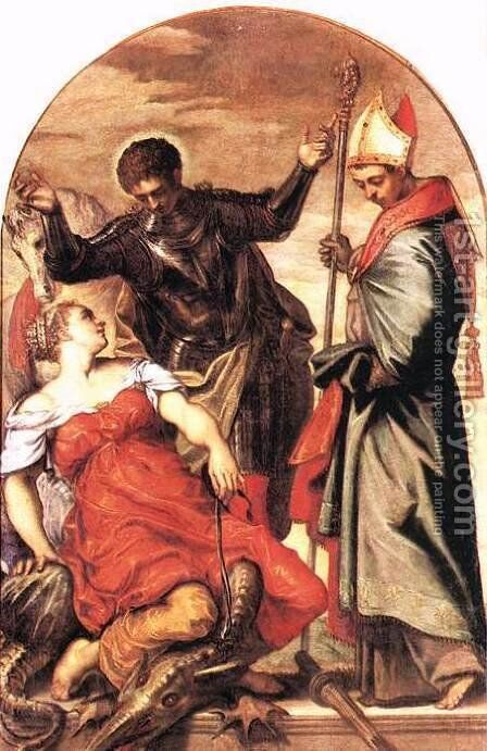 St Louis, St George and the Princess c. 1553 by Jacopo Tintoretto (Robusti) - Reproduction Oil Painting
